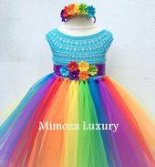 Mein kleines Pony Geburtstag Tutu Kleid, Rainbow Tutu Kleid, mein kleines Pony Tutu Kleid, häkeln Top Tüll Kleid, Hand stricken Top Tutu Halloween
