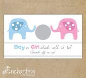 10 Baby Gender Reveal Rubbelkarten – Pink & Blue Elephant