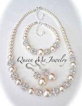 Perlenschmuck Set, Chunky, Swarovski, 3 Stück, Halskette Armband Ohrringe, Geschenk für eine Braut Mutter der Braut, Brautjungfern, Hochzeit, LOLITA   – Bridesmaids Gifts