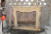 Hand Carved Marble Fireplace Mantel , French Design with Floral and Shell Carvings #1027