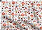 Christmas Fabric – Cute Christmas Character Circles By Jannasalak – Holiday Animal Kids Winter Cotto