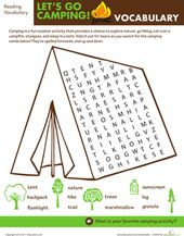 Let's Go Camping: Word Search – Fall Party Ideas