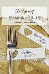 DIY Tischkarten einfach selber machen + kostenlose Vorlagen – Hochzeit