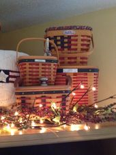 Twinkling lights add to this beautiful display of Longaberger Flag Baskets.