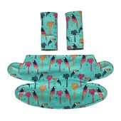 Baby Carrier ERGO 360 BABY CARRIER Teething Drool Pad Covers in Blue Parrots Cactus Pineapple...