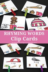 Printable Rhyming Clip Cards Reimaktivität für Kinder – iHN Preschool