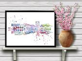 Chip with brain, Circuit board, Colorful Watercolor Poster, Technology Themed Wall Art, Science Medical Art, Print (10)