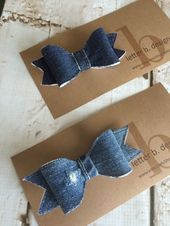 DIY Denim Hair Bows on Alligator Clip - #Alligator #Bows #clip #Denim #DIY #Hair