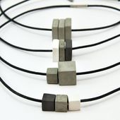 Moderne Beton Halskette, Unisex Schmuck, Beton Schmuck, modernen Schmuck, Lederschnur, Zement Halsband, Geschenk für Mann
