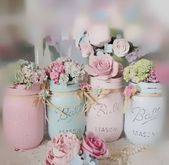 Shabby Chic Painted Mason Jar Centerpiece Decor Vase Wedding Bridal Shower Birthday Party Mothers Day Hostess Gift Sweet Vintage Design