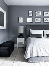 Graue Wandfarbe für eine harmonische und moderne Wandgestaltung   – Schlafzimmer