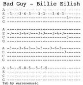 Bad Guy Billie Eilish In 2020 Ukulele Tabs Billie Eilish