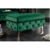 Elegant Chesterfield seat stool Modern Baroque 90cm emerald green velvet Riess AmbienteRiess ambience