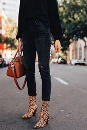 Fashion Jackson Wearing Black Sweater Black Ripped Jeans Tan Snakeskin Booties F…