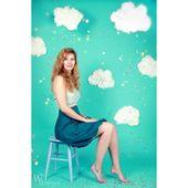 MISS DAISY ballongklänning i bensinblå och mynta. Handgjorda mode. Klänning i blått och …