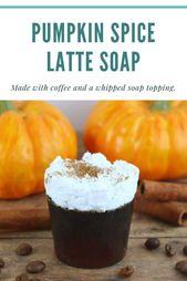 Kürbisgewürz Latte Kaffeeseife mit Schlagsahne und Zuckerguss – DIY Beauty R …