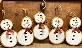 Snowmen – ornaments – two per order -birch snowmen – white birch ornaments – handmade – white birch