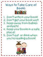 Soins du livre. Après une leçon d'initiation au livre pour les enfants de maternelle, élève …   – library technology