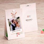 Snoepzakje met bloemen en foto