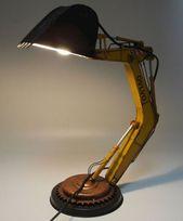 Desk Lamp Loft Excavator Tin Tinplate Metal Model Handmade Homedecorideasbeach Lampadari Scultura