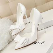 New Spring Autumn Women Elegant Pumps Sweet Bow High-heeled Shoes Thin Pink High Heel Shoes Hollow Pointed Heels