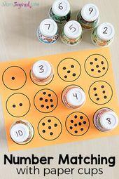 Übungsnummer mit Pappbechern abgleichen! Es ist eine unterhaltsame, praktische Art zu lernen …   – SCHOOL