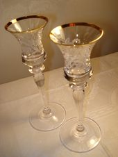Mikasa Antique Lace Crystal Candle Holders, Pair