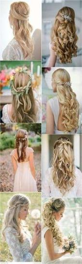 59 Ideas wedding hairstyles messy braid half up  #braid #Hairstyles #Ideas #Messy #Wedding #
