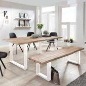 Design Sitzgarnitur aus Akazienweiß waschfestem Baumrand (2 Teile) MassivioMass …   – Products
