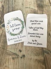 wild flower seeds Wedding ceremony Favours Packets Personalised Classic Boho Rustic, let love develop seed packets, pack of 10