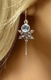 Frozen Snowflake Earrings, Sterling Silver Crystal Earrings, Winter Wedding Ear Threads