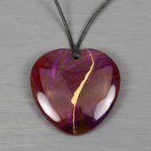 Broken heart pendant in purple banded agate with kintsugi (or kintsukuroi) repai…   – Art