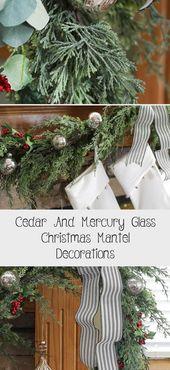 Cedar And Mercury Glass Christmas Mantel Decorations