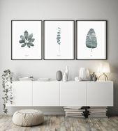 Set of 3 prints, Green Leaves, Watercolor Leaf, Modern Print, Modern Minimalist