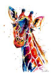 Colorful Giraffe Watercolor Painting – print of original Giraffe art (FREE Shipping)