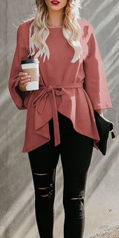 Fashion Casual Plain Irregular Hem Blouse