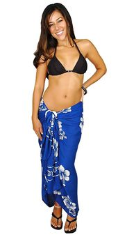 1 World Sarongs Womens Hibiscus Flower Swimsuit Sarong in your choice of color – Royal Blue/White Hwn