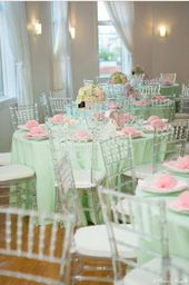 Lovely pink and mint green baby shower party! See more party planning ideas at C…