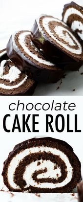 Fudgy, rich, and decadent homemade chocolate Swiss roll cake made with chocolate… – food