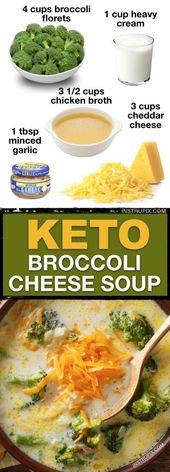 Sopa de queso con brócoli baja en carbohidratos (7 recetas fáciles de sopa de ceto)