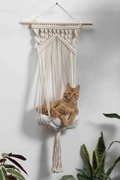 Macrame cat hammock Woven hanging cat bed macrame cat swing Cat lover gifts pet furnitures supplies