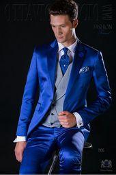 Costume de mariage bleu royal de laine mélangé  18929639ecb