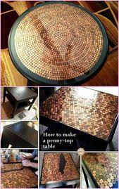 20 DIY-Hacks zum Dekorieren von Haus und Garten mit Pennies -DIY Penny Top Table #Fur