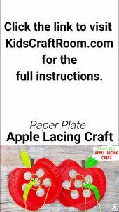 Paper Plate Apple Lacing Craft – Basteln  Herbst