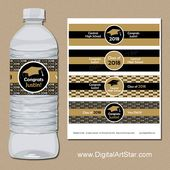 Black and Gold Graduation Party Decorations 2019, Personalized Graduation Water Bottle Labels, High School Graduation Party Ideas G1