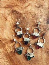 Africa Handmade Moroccan Jewel Earrings - Amber Glass