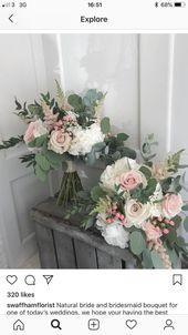 Hübsche Blumen, schöne Farben, Form, Eukalyptus – Brautstrauss