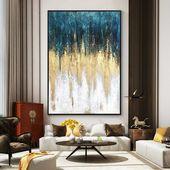 Gold Kunst moderne gerahmt E-Wand-Kunst abstrakte Acryl-Malerei auf Leinwand Original Extra große Marine blau Wand Bilder Textur Cuadros abstractos