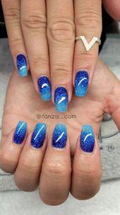 34 Gorgeous Blue Sparkle Nails Artwork Designs