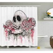 Ebern Designs Vilma Day of The Dead Print of Skull Dead With Romantic Roses Celebration Day Single Shower Curtain Size: 84″ H x 69″ W – Home decore